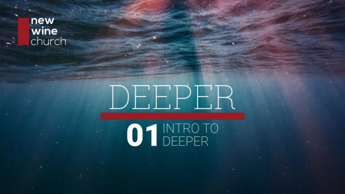 "A view from under water, looking up, with rays of sunlight shining down. And the words ""Deeper 01: Intro to Deeper"""